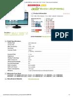 ACER Monitor LED [P166HQL] - Monitor LED 15 Inch - 19 Inch - Cetak Harga Dan Spesifikasi
