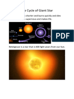 Life Cycle of Giant Star