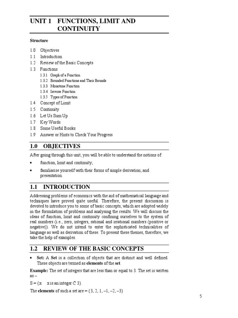 Block 1 MEC 003 Unit 1 | Continuous Function | Variable