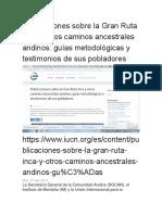 Publicaciones Sobre La Gran Ruta Inca y Otros Caminos Ancestrales Andinos