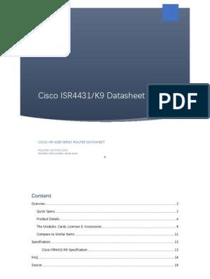 Cisco ISR4431/K9 Datasheet   Telecommunications Infrastructure