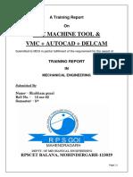 Cnc Training Report (Shubham Gayal)