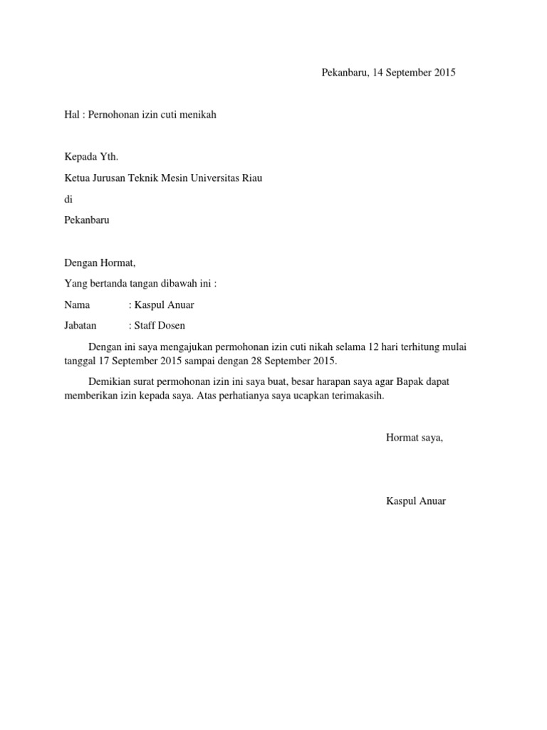 Surat Izin Cuti Nikah Suratmenyuratnet