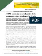 COAG alerta de una reducción de la producción este otoño por la virosis