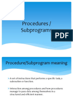 Procedures or Subprograms