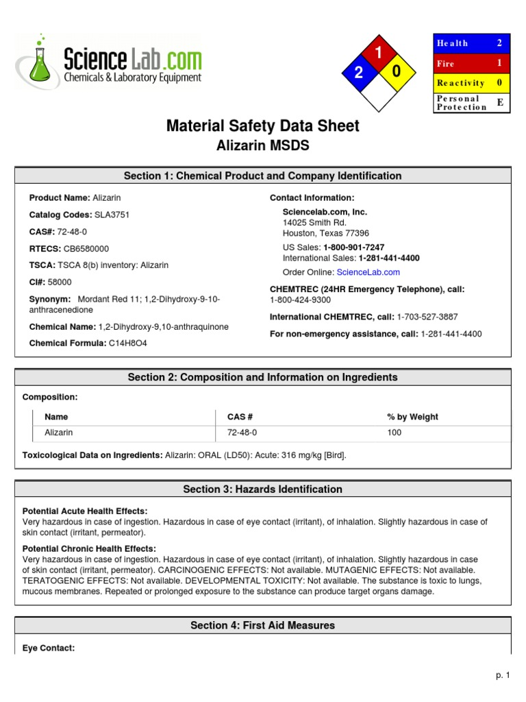 msds - Toxicity - Personal Protective Equipment - 웹
