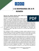 Ires Analiză Mândria Si Disperarea de a Fi Român