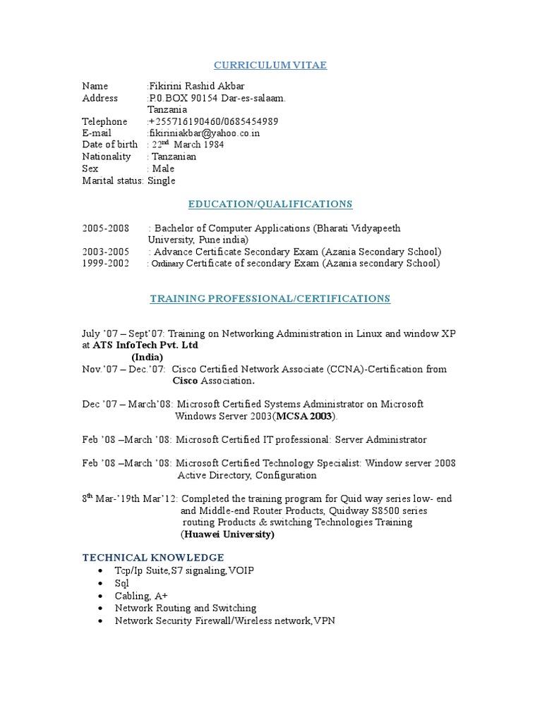 Fikirini Rashid Banc Cisco Certifications Computer Network
