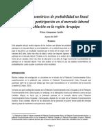 Modelos Econometricos de Probabilidad No Lineal Aplicados a La Participación en El Mercado Laboral de La Población en La Región Arequipa