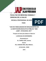 Cuadros e Interpretacion de Uso de Videojuegos en Adolescentes San Juan