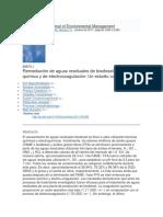 Remediación de Aguas Residuales de Biodiesel Mediante Química y de Electrocoagulación Un Estudio Comparativo