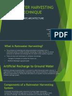 Rainwater Harvesting Technique