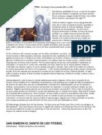 San Simeon El Santo de Los Titeres. Reseña y Obra para títeres