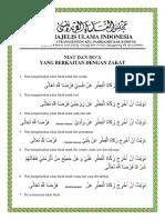 Niat dan Doa Zakat
