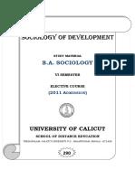 VI Sem. BA Sociology - Elective Course - Sociology of Development