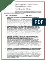 formal observation reflection  11 6