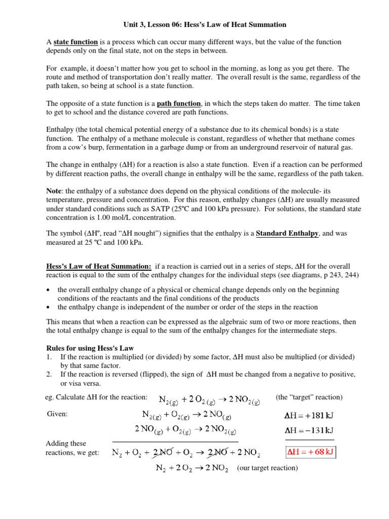 Worksheets Hess Law Worksheet unit 3 lesson 06 introduction to state functions and hesss law enthalpy carbon monoxide