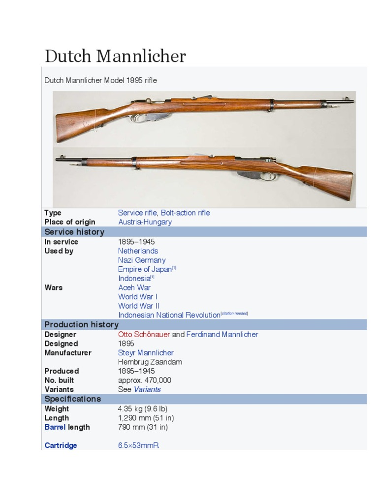 Dutch Mannlicher | Rifle | Firearms