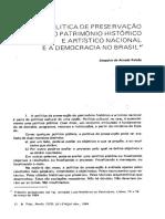 FALCÃO, Joaquim Arruda. Política Cultural e Democracia a Preservação Do Patrimônio