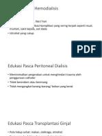 Edukasi Pasca Hemodialisis, Peritoneal, Transplan