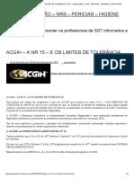 ACGIH – A NR 15 – E OS LIMITES DE TOLERÂNCIA _ SST - LEGISLAÇÃO - NRS - PERICIAS - HIGIENE OCUPACIONAL.pdf