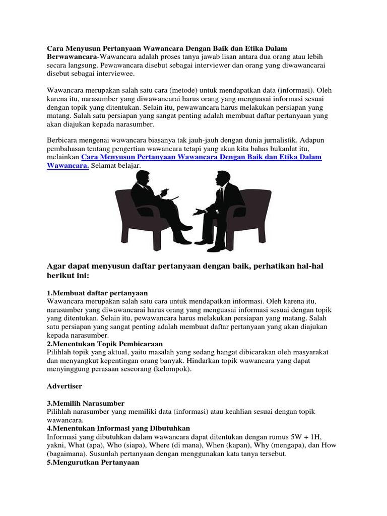 Cara Menyusun Pertanyaan Wawancara Dengan Baik Dan Etika Dalam Berwawancara