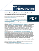 Detroit Pharmacy Technician Summarily Suspended for Diversion of Controlled Substances