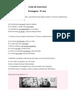 Exercicios de Revisao Portugues 8 Ano 3 Trimestre