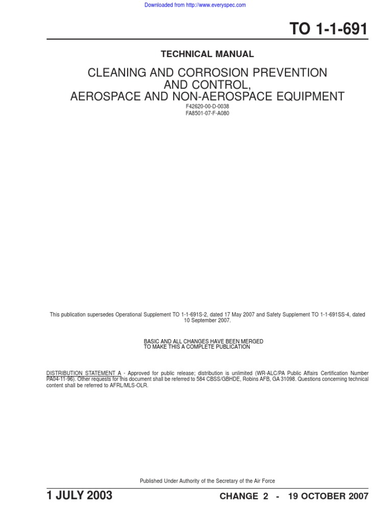 TO_1-1-691_2003 - Cleaning and Corrosion Prevention and Control - Aerospace  Eq.pdf | Corrosion | Stainless Steel