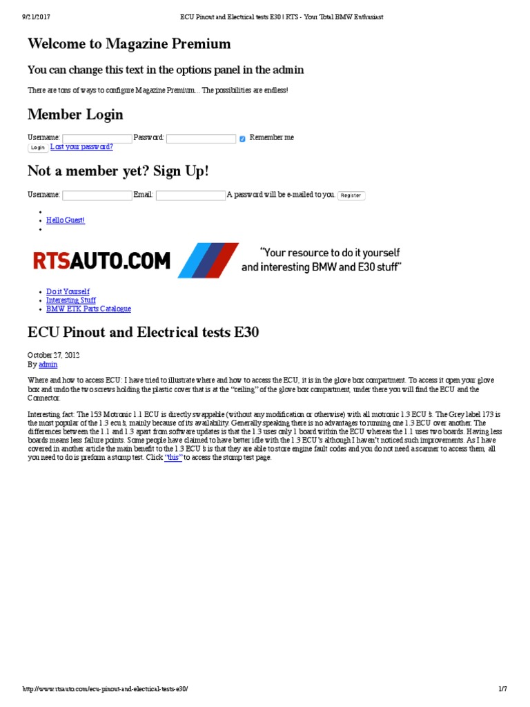ECU Pinout and Electrical Tests E30   Fuel Injection   Automotive ...