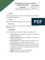Procedimiento Para La Selección y Evaluación Del Auditor