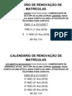 Calendário de Renovação de Matrículas 2018