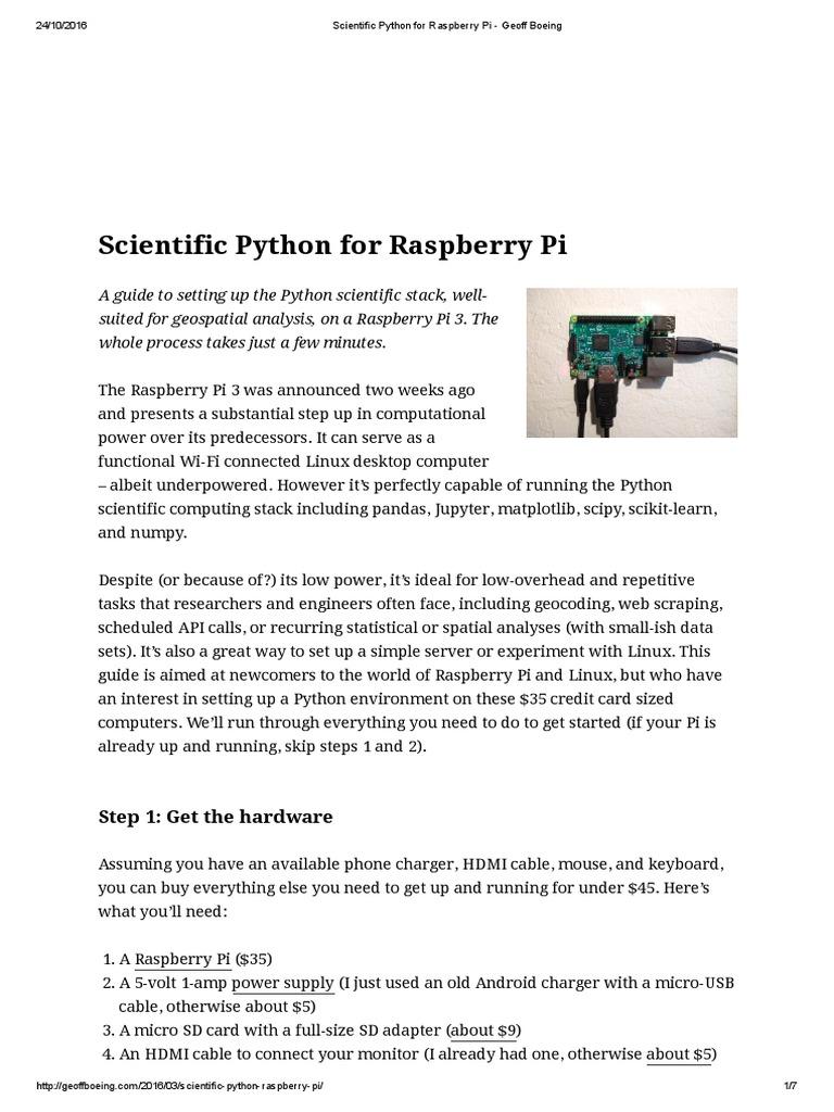 Panda_Scientific Python for Raspberry Pi - Geoff Boeing | Python