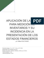 Aplicación de La Nic 2 Para Medición de Inventarios y Su Incidencia en La Presentación de Los Estados Financieros