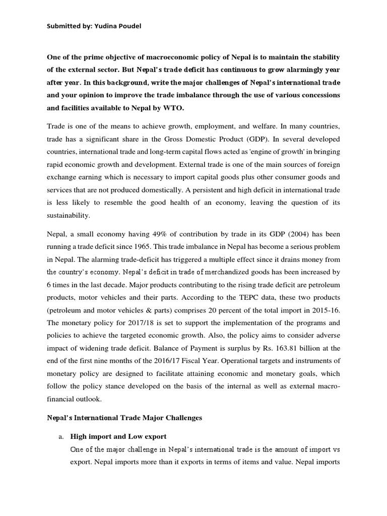 Trade Deficit Assignment | World Trade Organization