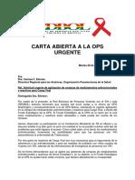 29 de 2017 Carta Abierta de la Red Nacional de Personas con VIH a la Organización Panamericana de la Salud (OPS)