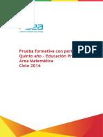 2016 Prueba Formativa Matematica 5to Con Perfiles