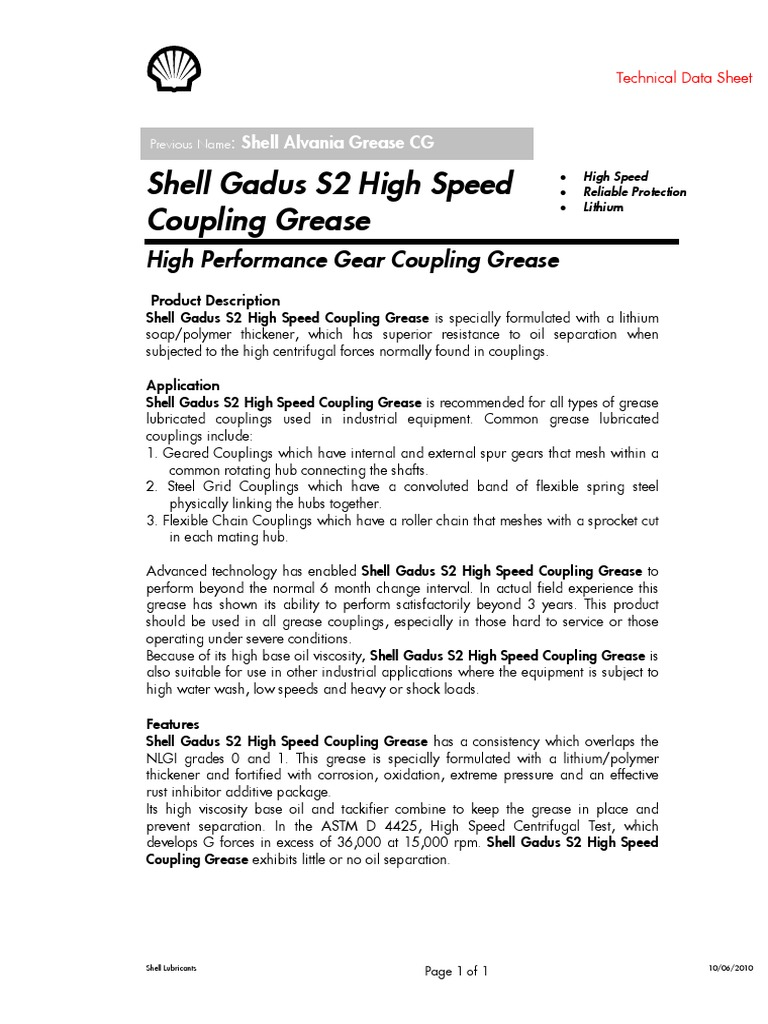 Shell Gadus S2 High Speed Coupling Grease | Mechanical