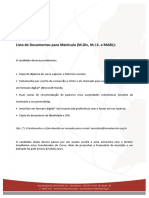 Lista de Documentos Para Matrícula (Mdiv, MIS e MABL)