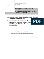 Propuesta de Orden Del Dia Sesion Ordinaria Del Dia Martes 28 de Noviembre de 2017 Hora 1000 Am 129