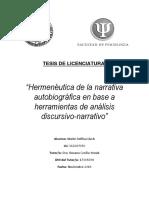 "Tesis de Licenciatura ""Hermenéutica de la narrativa autobiográfica en base a herramientas de análisis discursivo-narrativo""- Lic. Maité Delfina Lluch"