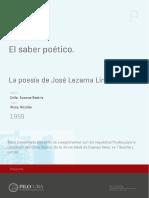 El saber poético. La poesía de José Lezama Lima de Susana Beatríz Cella