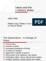 The Restoration and the Eighteenth Century Notes