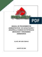Manual de Procedimientos Administrativos de Capacitacion y Desarrollo Humano en Petroleos Mexicanos