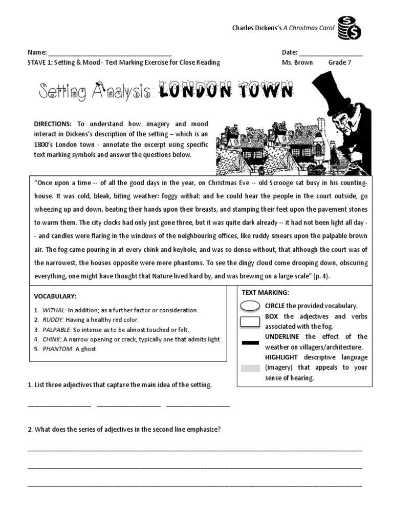 Christmas Carol Stave 1 Setting Imagery Mood Text Marking Exercise For Setting Close Reading Pdf A Christmas Carol Languages
