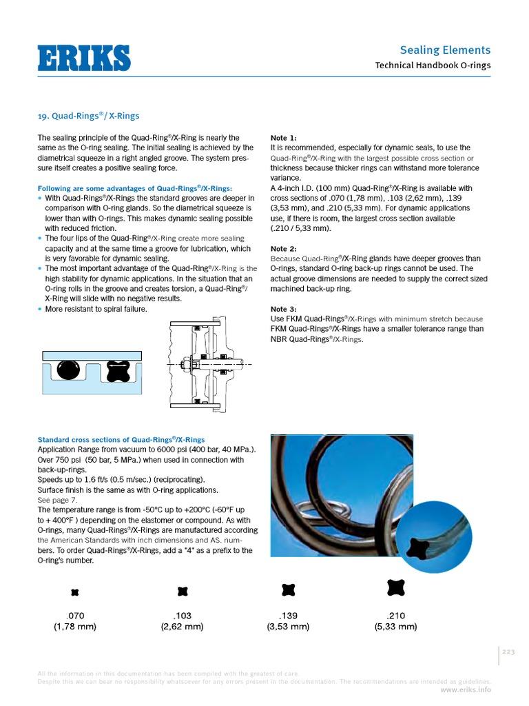 Eriks X Ring.Design Guide O Ring Quad Ring Eriks Industrial