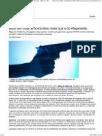 Brasil Tem Taxa de Homicídios Maior Que a Do Afeganistão