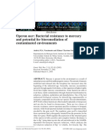 Operon Mer Bacterial Resistance to Mercury and Potential for Bioremediation of Contaminated Environments