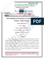 Brief Guidelines for Preparation of Academic Research Projects