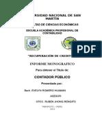 Informe Sobre Recuperacion de Creditos